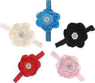 Zest ST Baby Girl 5 Elastic flower Headbands for Newborn Toddler and Kids