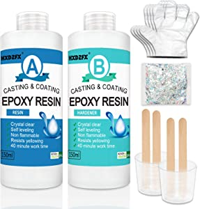 Epoxy Resin Clear Crystal Coating Kit 300ml/11.5oz - 2 Part Casting Resin for Art, Craft, Jewelry Making, River Tables, Gloves, Measuring Cup and Wooden Sticks