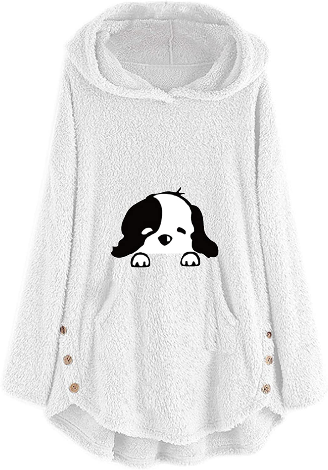 Our shop OFFers the best service Women New products world's highest quality popular Casual Fleece Pullover Dog Panda-Embroidery Blou Plus Size