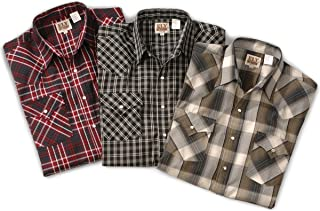 ELY CATTLEMAN Mens Easy Care Short Sleeve Western Plaid Shirt