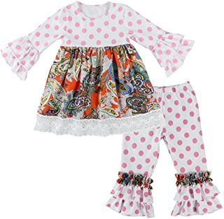 Children Baby Girls Polka Dot Lace Trim Dresses & Ruffle Pants Outfits Sets