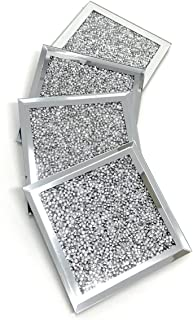 Lesser and Pavey Square Shaped Sparkle Diamante Crushed Jewel Glass Glitter Coasters Set of 4 10cm x 10cm