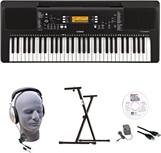 Yamaha PSR-E363 EPY 61-Key Keyboard Pack with Headphones, Power Supply, Secure Bolt-On Stand, eMedia Instructional Software, USB Cable