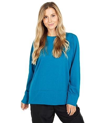 Eileen Fisher Organic Cotton Stretch Jersey Round Neck Top (Jewel) Women