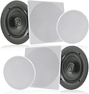 """Pyle 2 Pair 10"""" Flush Mount in-Wall in-Ceiling 2-Way Speaker System Spring Loaded Quick Connections Changeable Round/Squar..."""