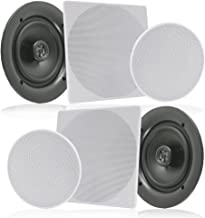 """Pyle Pair 10"""" Flush Mount in-Wall in-Ceiling 2-Way Speaker System Spring Loaded Quick Connections Changeable Round/Square Grill Stereo Sound Polypropylene Cone Polymer Tweeter 300 Watts (PDIC16106)"""