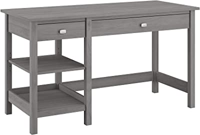 Bush Furniture Broadview Computer Desk with Shelves, 54W, Modern Gray