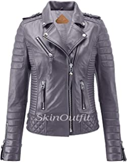 SKINOUTFIT Women's Leather Jackets Motorcycle Biker Genuine Lambskin XS Gray