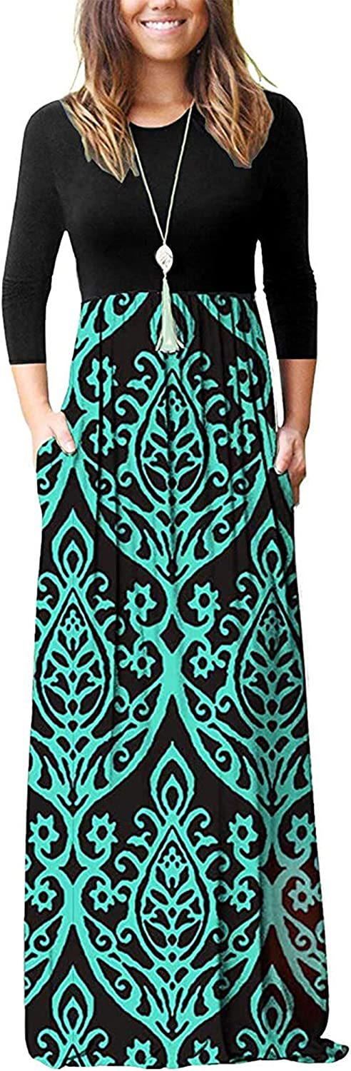 WNEEDU Women's 3 Complete Free Ranking TOP2 Shipping 4 Sleeve Loose Po Long Dresses with Maxi Casual