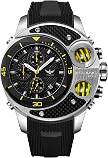 Yelang Mens Sport Chronography Big Dial T100 Tritium Luminus 100M Waterproof Quartz Watch V1211 - Green