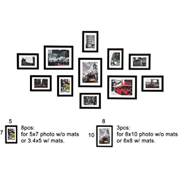 5x7 8x10 Gallery Wall Picture Frames Set with Hanging Template, 11 Pcs collage photo Frames with Photo Mats,Black