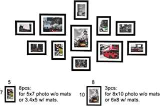 WOOD MEETS COLOR 11 Pcs Picture Frames Set, Wall Gallery Collage Frames with Hanging Template, Photo Mats, 3-8x10 and 8-5x7 Frames,Black
