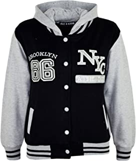 Enfants Garçons Baseball NYC Athletic Gris Veste à Capuche Varsity Sweat à Capuche Âge 5-13 Ans