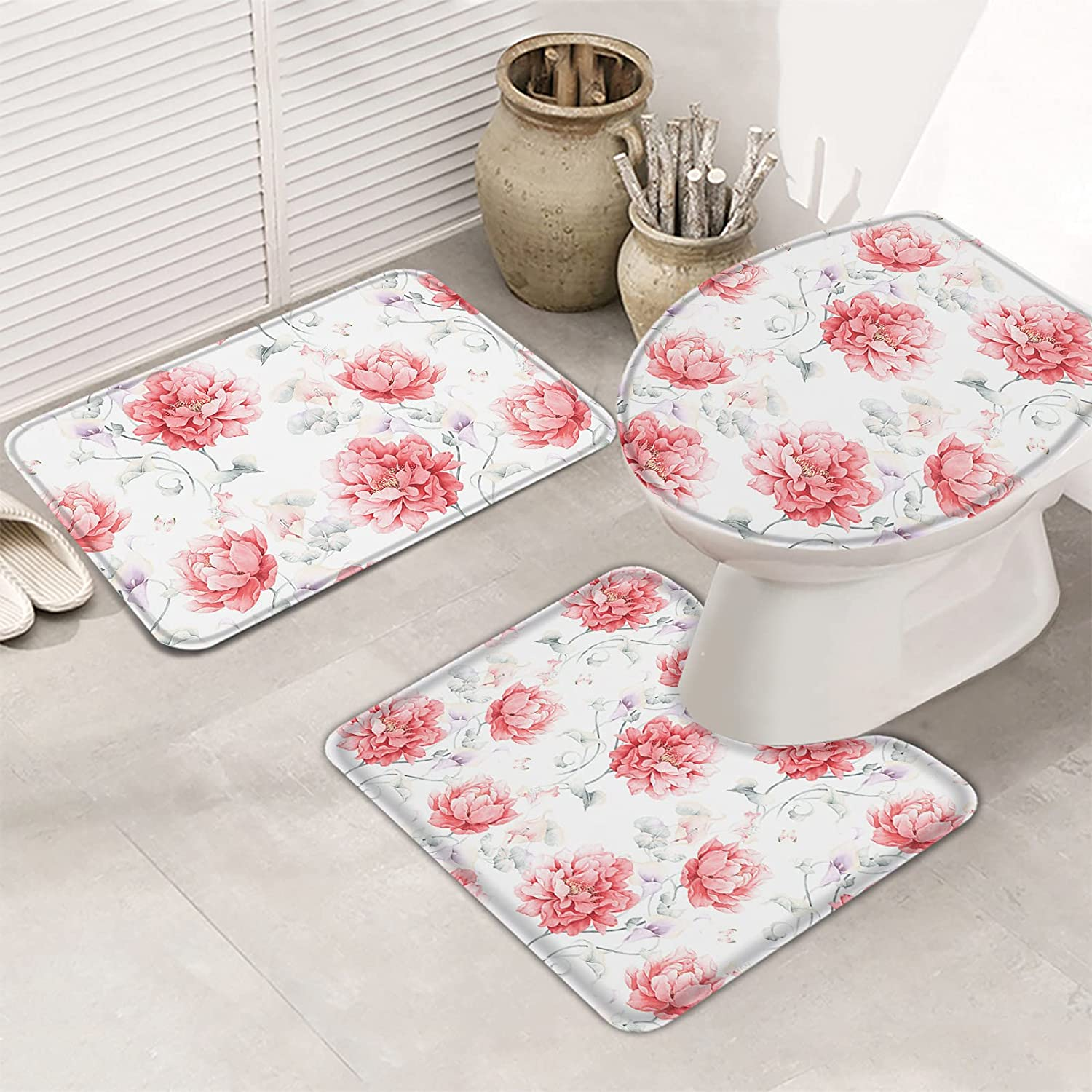 MUSEDAY 3 Pieces Bathroom Rugs Set Non National products Absorbent Mats Slip Pin Price reduction