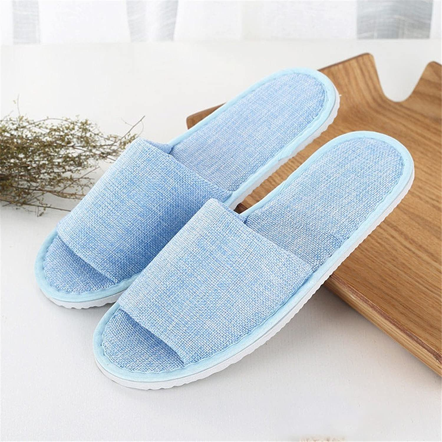 One Size Spa Slippers for Guests Closed Toe Slippers for Spa, Party Guest, Hotel and Travel, Washable and Non-Disposable,Linen