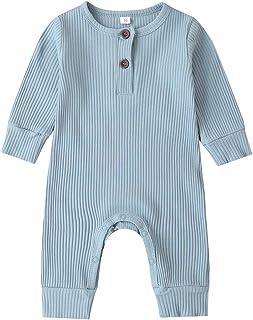 Kuriozud Newborn Infant Unisex Baby Boy Girl Button Solid Romper Bodysuit One Piece Jumpsuit Outfits Clothes (Long Sleeve One Piece Blue, 0-3 Months)