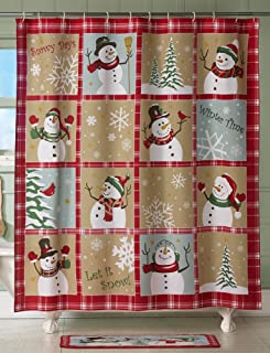 Collections Etc Snow Time Country Snowman Shower Curtain