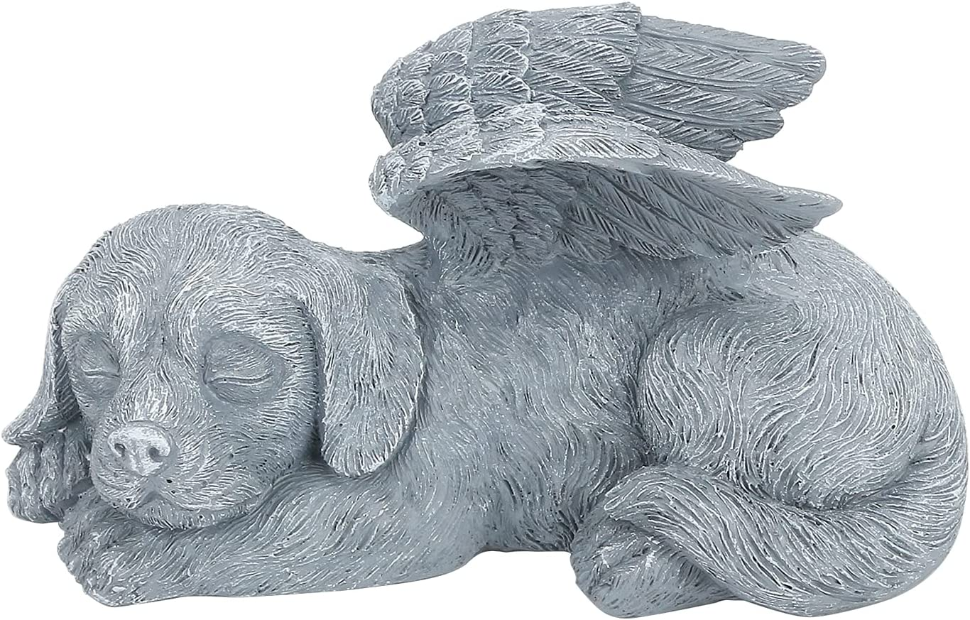 Holres Estatua conmemorativa para mascotas de resina, ideal para el cementerio para mascotas y perros conmemorativos de duelo para perros y perros durmientes ángel, estatua de homenaje a las mascotas