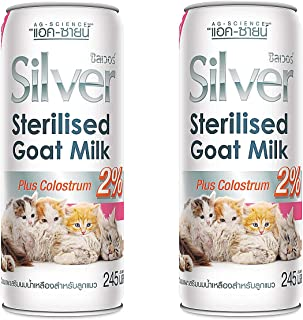 AG Canned Silver+ 100% Sterilized Goat Milk Mixed Colostrum, Puppy & Kitten Milk Replacement Food Supplement for Cats & Dogs High Growth Strengthens Immunity Milk Replacer Liquid 245 ml/Canned