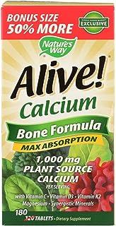 Nature's Way Nature's Way Alive! Calcium Bone Formula, Max Absorption, Plant Source Calcium, 180 Tablets, 180 Count