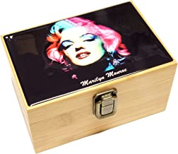 Cali Factory Marilyn Monroe Design - Grinder, Jar in Medium Size Sacred Geometry Stash Box with Latch Combo Gift Package Item# MED062118-4