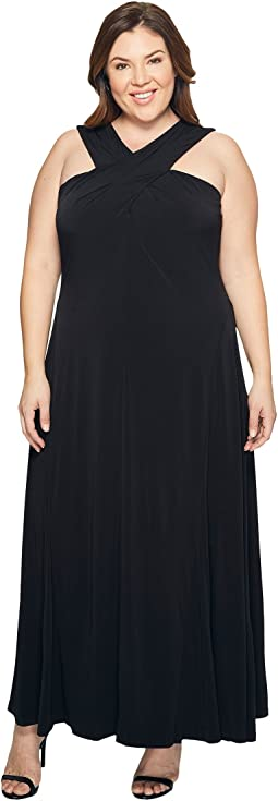 Plus Size Cross Neck Dress Maxi