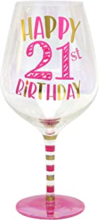 Top Shelf Decorative Luster Glass Oversized 21st Birthday Wine Glass with Gift Box, Unique and Funny Gifts Idea for Friends and Family, Holds 2 Whole Bottles of Wine
