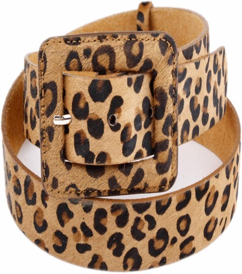 Yhjklm Cinturón Reversible de Cuero para Mujer Cinturón de Cuero para Mujer Paquete de Leopardo de Crin de Caballo Sección Gruesa Ocio