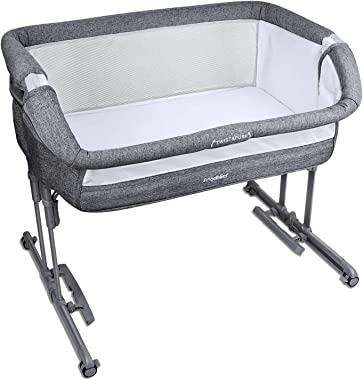 Angelbliss Baby Bassinet & Bedside Sleeper,3-in-1 Baby Crib with Cradle Mode,Portable Co-Sleeping Crib with 10 Height Adjusta