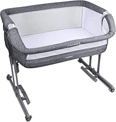 Angelbliss Baby Bassinet & Bedside Sleeper,3-in-1 Baby Crib with Cradle Mode,Portable Co-Sleeping Crib with 10 Height Adjustable(Black)