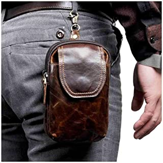 YWSCXMY-AU Real Leather Men Casual Small Waist Bag Cowhide Fashion Hook Bum Bag Waist Belt Pack (Color : Coffee)