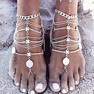 Jozape Boho Layered Anklets Punk Coin Tassel Ankle Bracelets Beach Foots Anklet Jewelry Accessory Adjuestable for Women and Girls (1 pcs) (Gold)