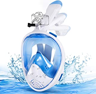 comprar comparacion E-MANIS Máscara de Buceo Doble Antivaho 180 ° Vista Panorámico Cara Completa Respirar Gafas Snorkel Anti-Fugas Plegable co...