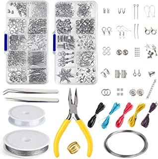 FEPITO Jewelry Making Kit Jewelry Finding Starter Tools Kit with Pliers for Jewelry Making Repair DIY Craft Supplies