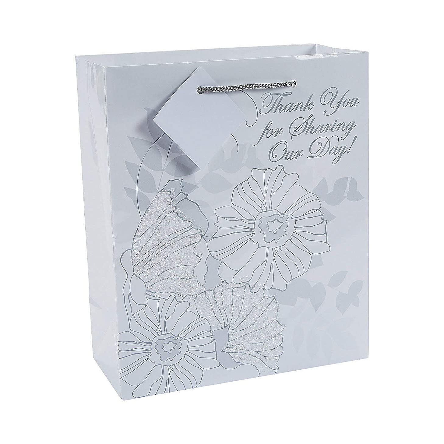 Fun Express - Med Glitter Flower Gift Bag for Wedding - Party Supplies - Bags - Paper Gift W & Handles - Wedding - 12 Pieces