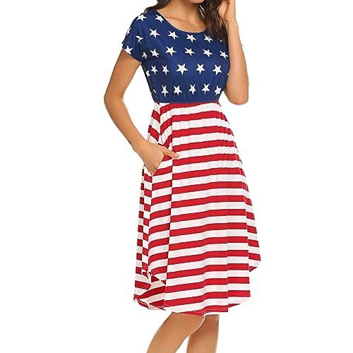 bc296c57705 Halife Women s Summer Casual Stripe Elastic Waist Loose Beach Midi Dress