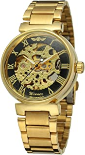 Skeleton Automatic Steampunk Watches Gold-Tone Luminous Hands Leather Strap Wrist-Watch