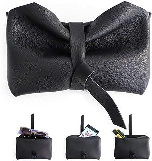 Custodia cellulare, Porta occhiali, Astuccio porta penne, Bustina in pelle NAPPA nera. Camy, little pouch