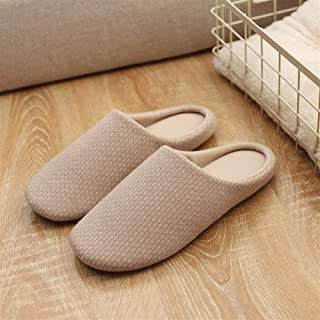 Soft Bottom Non-Slip Home Slippers Men's Indoor Floor Cotton Linen Mop Couple Mute Cotton Slippers Slippers Anti-Skid Indoor Cosy Shoes (Color : Beige, Size : 40-41)
