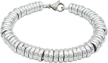 ParticolarModa Bracciale stile anelli singoli per donna in alluminio e acciaio dorato/argentato 7 mm