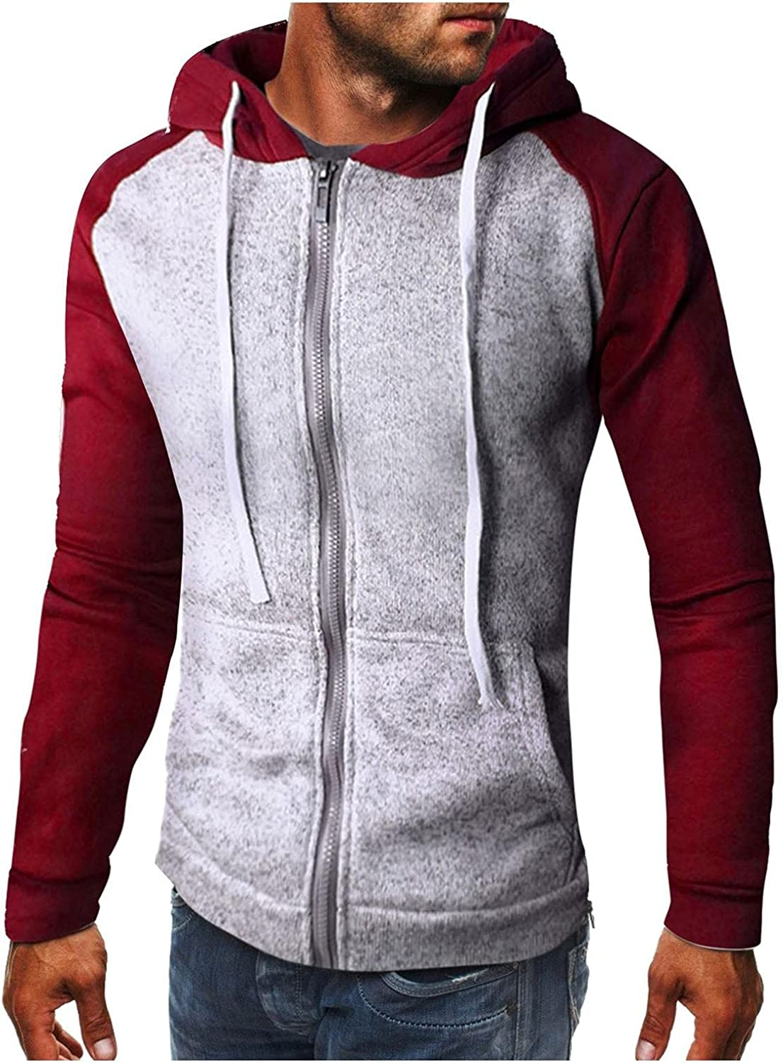 Men's Hoodie Full Zip Up Athletic Sweatshirt Casual Long Sleeve Stitching Color Drawstring Tops Fall Coats Gym Hooded