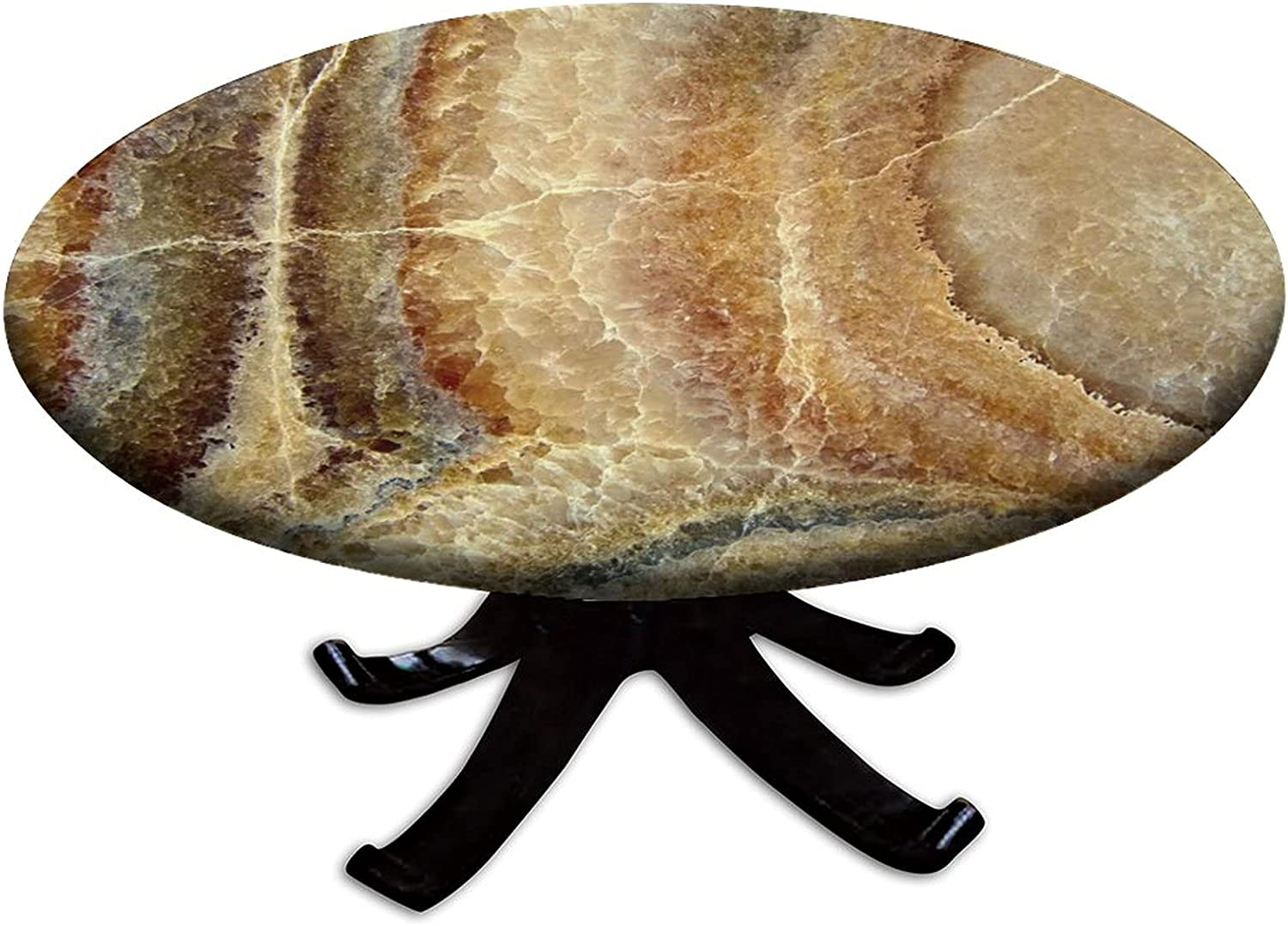 Marble New color Fitted Tablecloth Round Edge Co Manufacturer OFFicial shop Waterproof Table Elastic