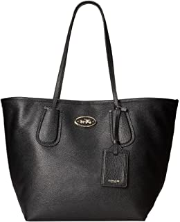Embossed Leather Taxi Tote 28 Black