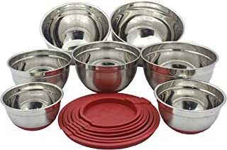 Checkered Chef Stainless Steel Mixing Bowls Set of 7 - XL to Small - Nesting Stackable Stainless Steel Bowls with Lids and...