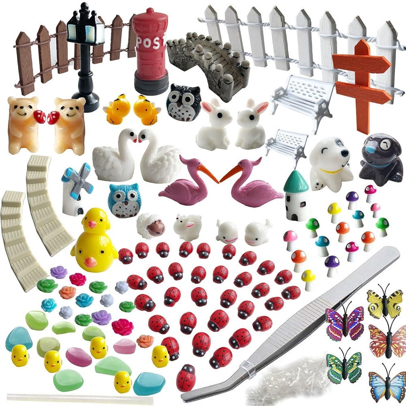 AZYC Miniature Garden Ornaments,109 Pcs Miniature Ornaments Kit Set with 1 Pcs Tweezer for DIY Fairy Garden Dollhouse Decoration
