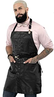 Under NY Sky No-Tie Black Apron – Coated Twill with Golden Hardware, Leather Reinforcement, Split-Leg, Adjustable for Men and Women – Pro Barber, Tattoo, Bartender, Hair Stylist Aprons – Small Size