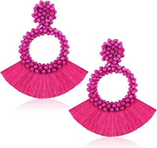 3 drop beads  clip on earrings ideal christmas present Childrens pink bow
