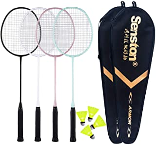 Senston - 4 Player Badminton Racket Set Including 2 Badminton Bag/4 Rackets/4 Nylon Badminton
