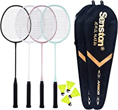 Senston Badminton Rackets 4 Pack, Badminton Set Including 2 Badminton Bag/4 Rackets/4..
