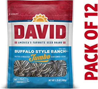 DAVID Roasted and Salted Buffalo Style Ranch Jumbo Sunflower Seeds, Keto Friendly, 5.25 oz, 12 Pack